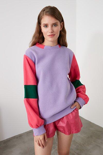 Lila Oversize Renk Bloklu Örme Sweatshirt TWOAW21SW0319