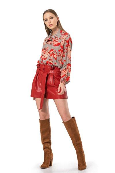 Kadın Kırmızı Dik Yaka Beli Lastikli Bluz