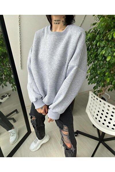 Kadın Gri Basic Polar Baskısız  Sweatshirt