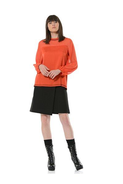 Kadın Kiremit Kontrast Dikiş ve Kadife Şerit Detaylı Uzun Kollu Bluz