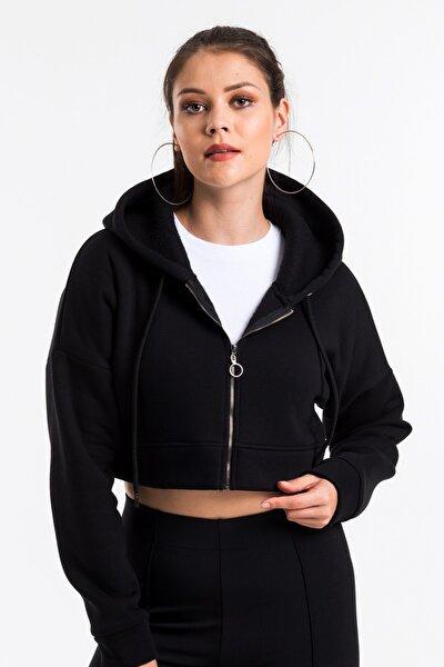 Kadın Siyah Fermuarlı Crop Sweatshirt Cy84189