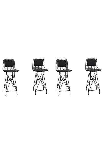 Knsz Tel Bar Sandalyesi 4 Lü Mağrur Syhsyh Sırt Minderli 65 cm Oturma Yüksekliği