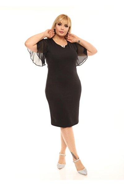 Kadın Siyah Büyük Beden Kolu Şifon Broşlu Abiye Elbise