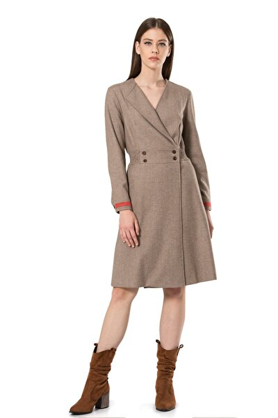 Kadın Bej Keçe Nakış Detaylı Elbise