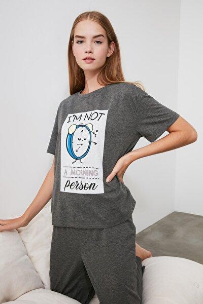 Antrasit Baskılı Örme Pijama Takımı THMAW21PT0238