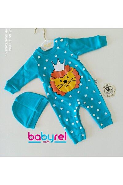 Bebek Aslan Baskılı Şapkalı Tulum