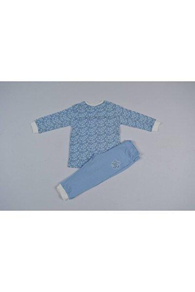 Kız Bebek Mavi Çiçek Desenli Pijama Takımı