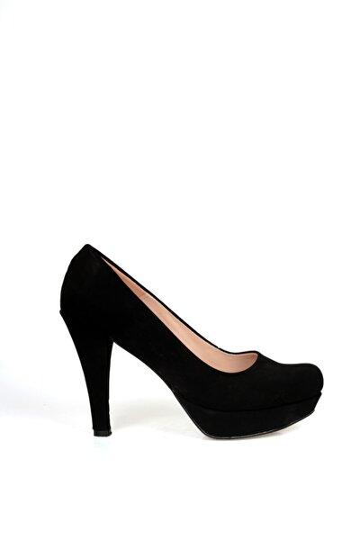 Kadın Siyah Süet Platform Topuklu Ayakkabı