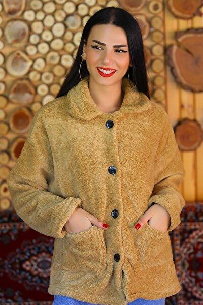 Kadın Kahverengi Düğmeli Peluş Mont