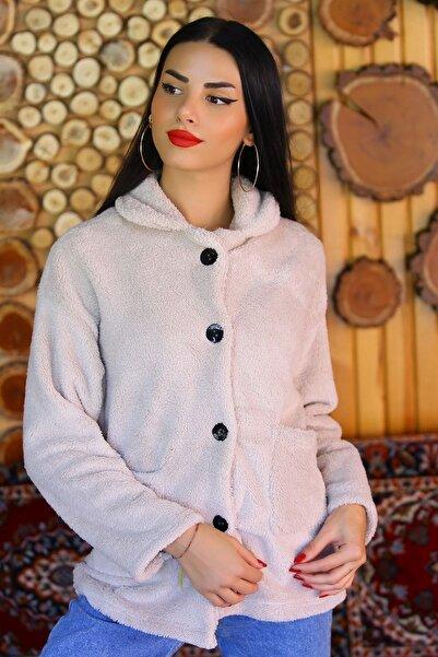 Kadın Bej Düğmeli Peluş Ceket