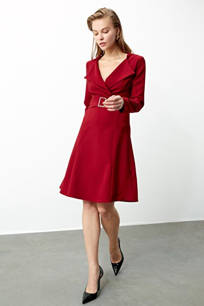 Bordo Kemerli Elbise TWOAW21EL0481