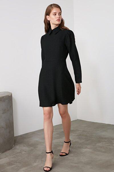 Siyah Yaka Detaylı Tüvit Elbise TWOAW21EL1397