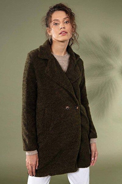 Kadın Haki Uzun Peluş Kuzu Ceket 10418 Y19W126-10418