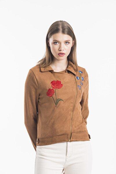 Taba Süet Nakışlı Ceket