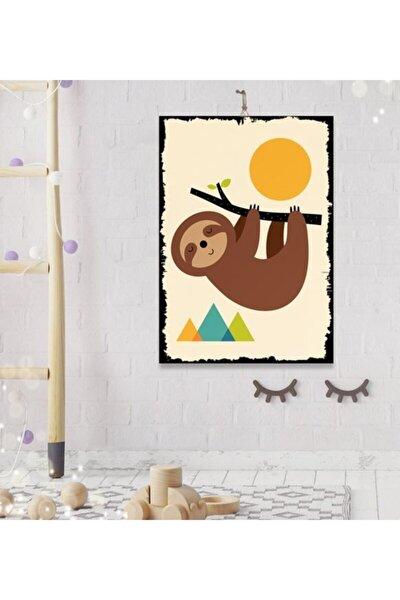 Tatlı Sloth Tasarım Dekoratif Ahşap Tablo 8 mm 35x50 cm