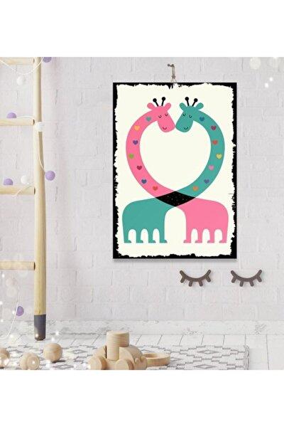 Tatlı Zürafa Tasarım Dekoratif Ahşap Tablo 8 mm 35x50 cm