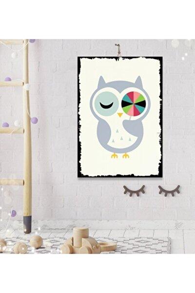 Bebek Odası Tatlı Baykuş Tasarım Hediyelik Ahşap Tablo 35x50 cm