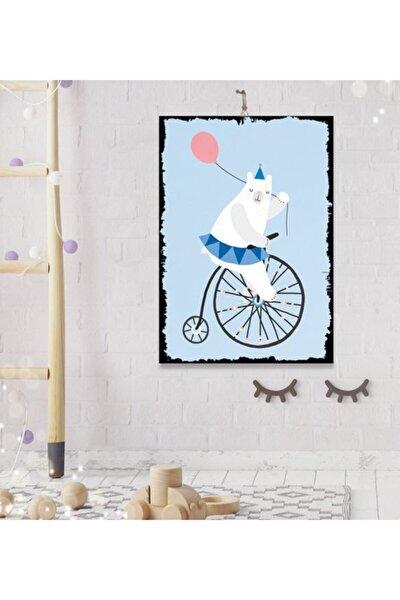Bebek ve Çocuk Odası Tatlı Ayı Tasarım Hediyelik Dekoratif 8 mm Ahşap Tablo 35x50 cm