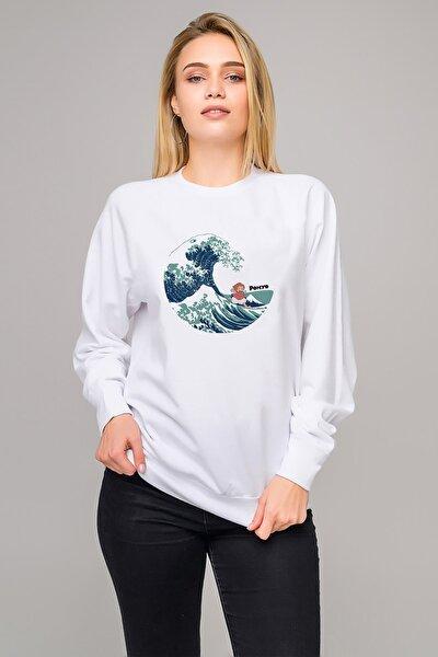 Küçük Deniz Kızı Ponyo Gake No Ue No Ponyo Baskılı Beyaz Kadın Örme Sweatshirt Uzun Kol