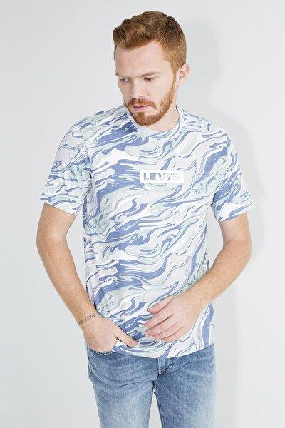 Erkek Lacivert Desenli Logo Baskılı Bisiklet Yaka Rahat Kesim T-Shirt 161430051