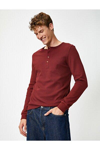 Erkek Pamuklu Düğmeli Yaka Uzun Kollu Slim Tisört