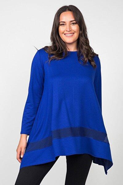 Kadın Saks Mavi Eteği File Asimetrik Büyük Beden Tunik