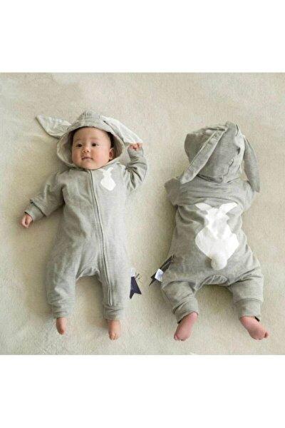 Bebek  Gri Tavşanlı Tavşan Kulaklı Tulum