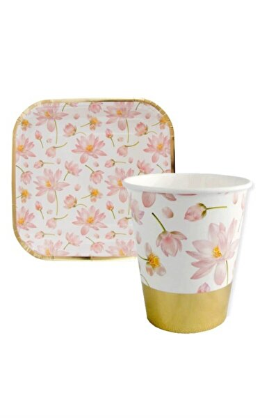 Çiçek Desenli Pembe Varaklıi Tabak Bardak Set