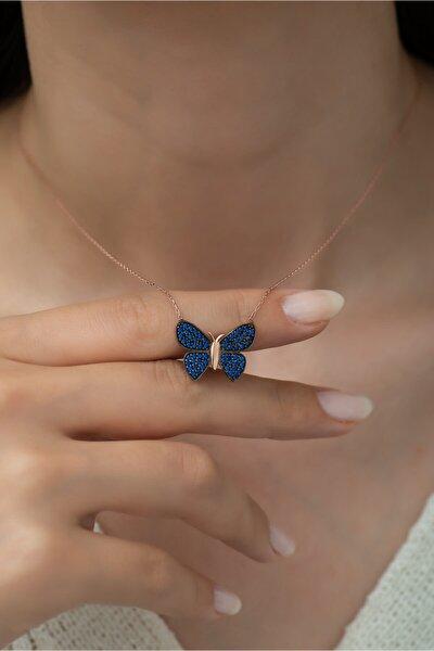 925 Ayar Mavi Taşlı Kelebek Kadın Gümüş Kolye