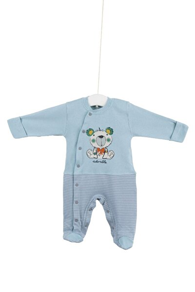 6682 Erkek Bebek Mavi Pamuklu Patikli Tulum