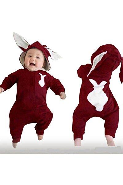 Bebek Bordo Tavşanlı Tavşan Kulaklı Tulum