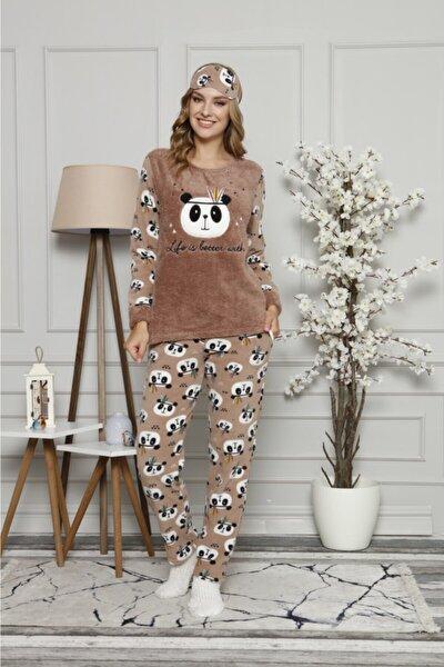 Kadın Kahverengi Polar Panda Desenli Nakış Detaylı Göz Bandı Ve Çorap Pijama Takımı?