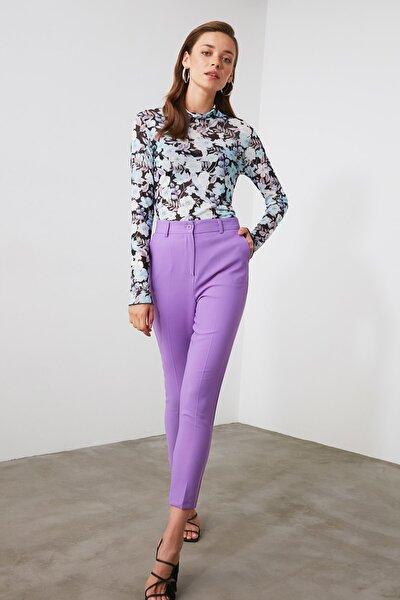 Lila Düz Kesim Pantolon TWOAW21PL0206
