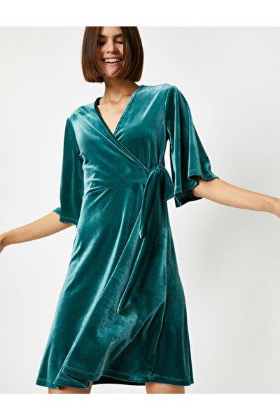 Kadın Yeşil Kadife V Yaka Bagcikli Wrap Elbise