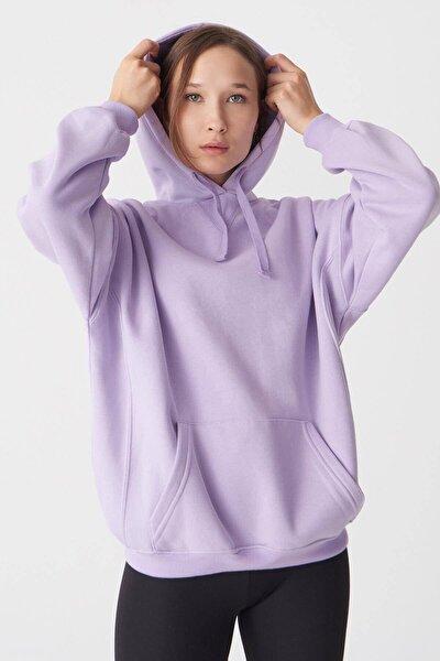 Kadın Lila Kapşonlu Sweatshirt S0519 - U4 ADX-0000021174