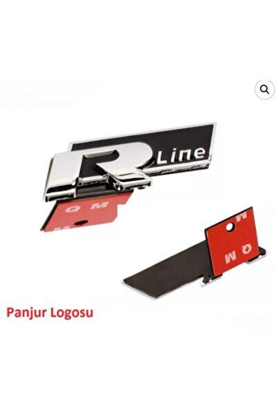 Vw R Line Kaput Ön Panjur Logos Amblem Ayaklı Geçmeli Yapışmalı Metal Krom Siyah