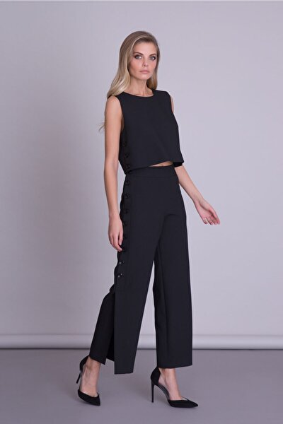 Kadın Siyah Yan Düğme Detaylı Kumaş Pantolon