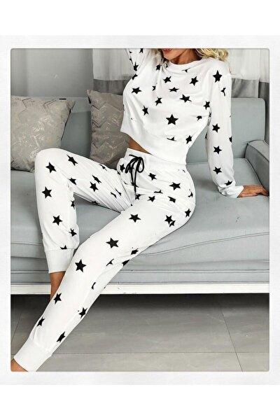 Kadın Beyaz Yıldızlı Pijama Set