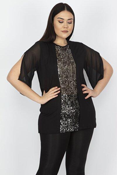Kadın Gümüş Kolları Şifon Yırtmaç Ve Payet Detaylı Bluz 65N18201