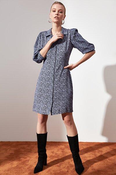 Çok Renkli Desenli Gömlek Elbise TWOAW21EL0620