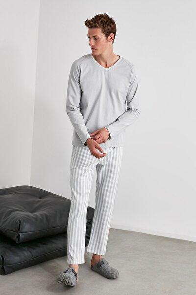 Mavi Çizgili Örme Pijama Takımı THMAW21PT0399