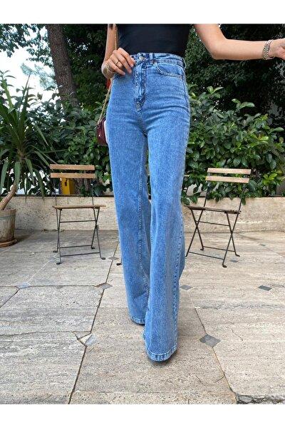 Kadın Mavi Yüksek Bel Bol Paça Jean Pantolon