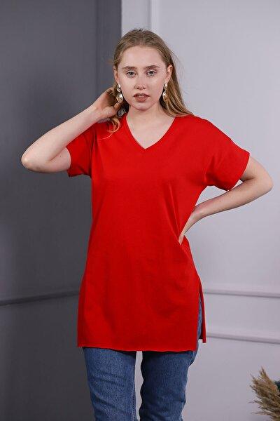 Kadın V Yaka Yan Yırmaçlı T-shirt