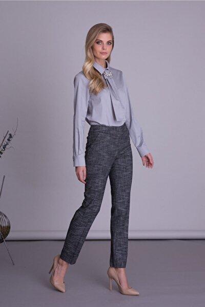 Kadın Siyah Cepli Boru Paça Kumaş Pantolon