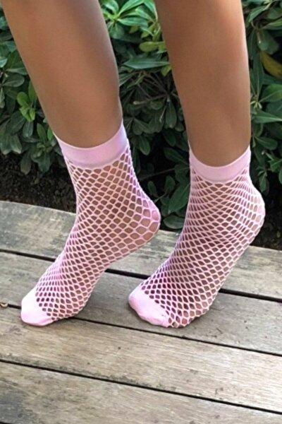 Kadın Pembe File Soket Çorap