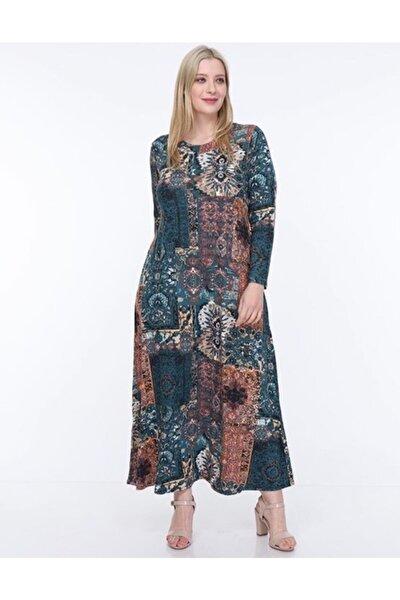 Kadın Mavi Etnik Desen Yaka Pervazlı Viskon Elbise