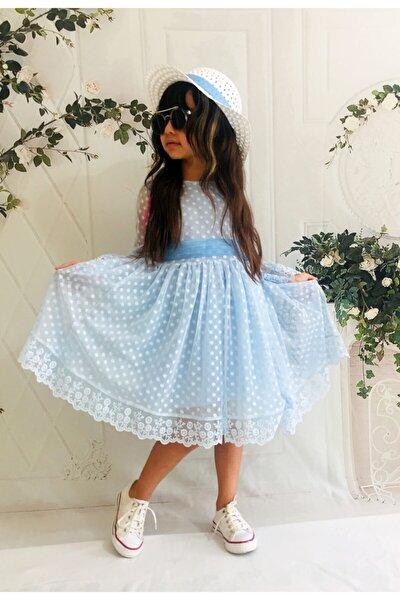 Kız Çoçuk Şapkalı  Güpürlü Prenses Model  Elbisesi