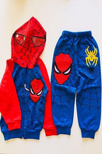 Örümcek Adam Eşofman Takımı  Spiderman Kostümü Maskeli Kapüşonlu