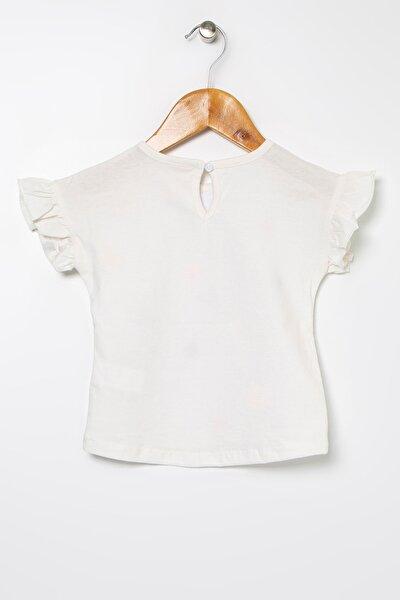 Kız Bebek Ekru Baskılı T-Shirt