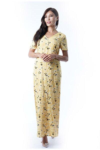 Kadın Sarı  Baskılı Viskon Tek Tarafı Yırtmaçlı Elbise Y-5952 Sarı